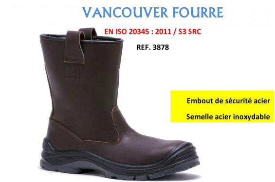 Botte securite Fourree Vancouver S3 Baudou Chaussures-pro.fr