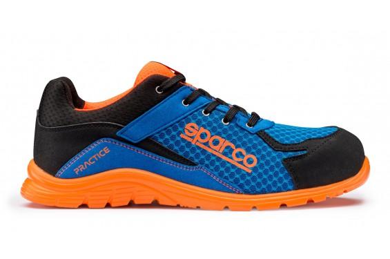 Basket securite practice S1P bleu orange Sparco Chaussures-pro.fr