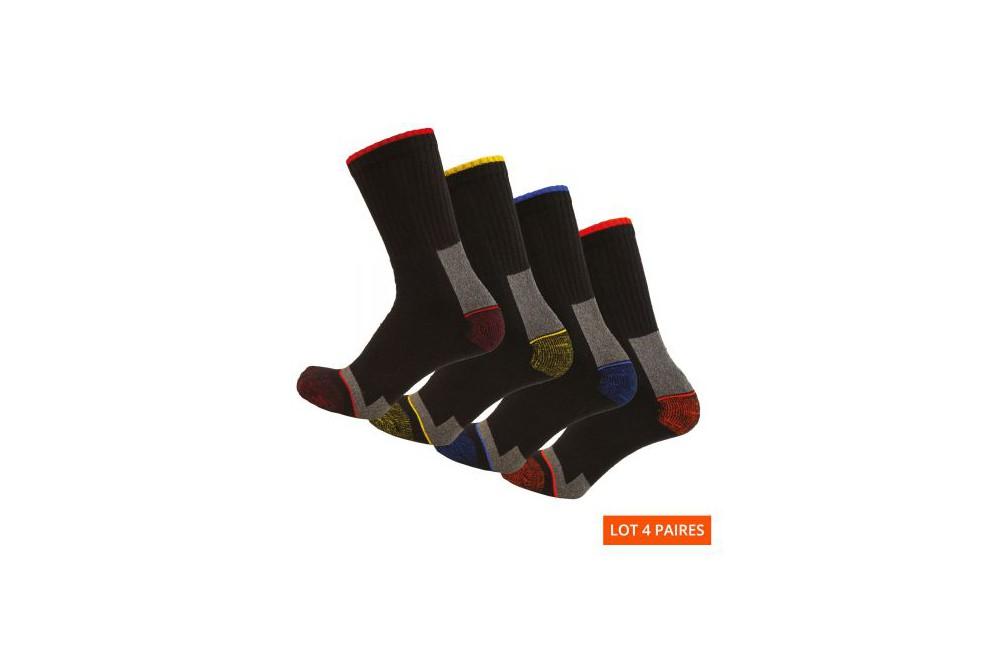 Chaussettes de travail résistantes lot de 4 Elios LMA