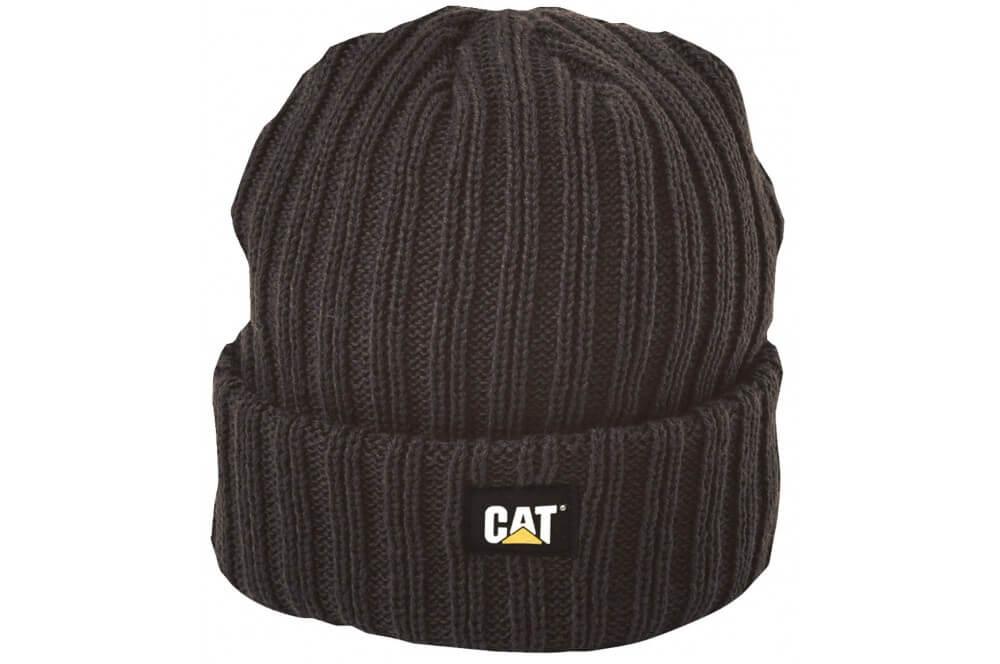 Bonnet tricoté noir avec logo CAT